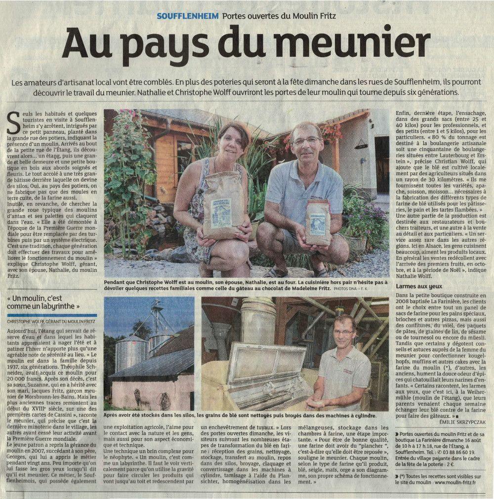 Au pays du Meunier, article DNA 11 août 2015
